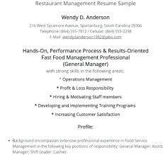 Fast Food Management Resume Rome Fontanacountryinn Com