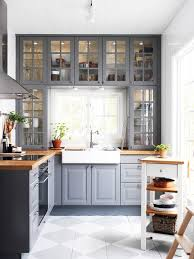 ikea grey kitchen home glass cabinets