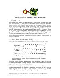 Color And Light Absorption Topic 6 Light Absorption And Color In Biomolecules