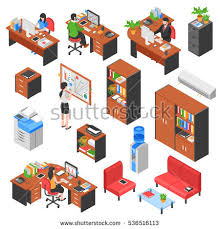 isometric office furniture vector collection. set of isolated isometric office workplace elements with colorful furniture tables business machines and people characters vector collection i