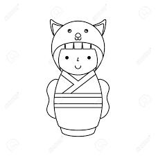 マウス ベクトル イラスト デザインの変装でかわいい日本の人形