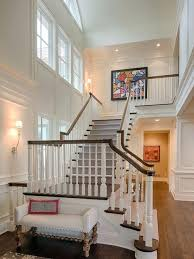 white brick hardboard wall panel staircase mid sized traditional wooden l shaped wood railing idea in paneling