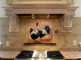 black tiled kitchen tre black rooster and hen tile mural
