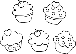 Cupcakes Printable Outline Black White Coloring