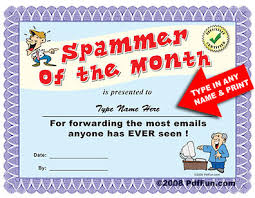 Spammer Of The Month Funny Certificate Pdf
