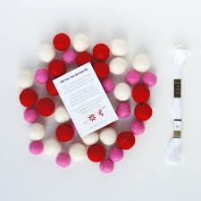 felt ball garland diy kit pink red and white