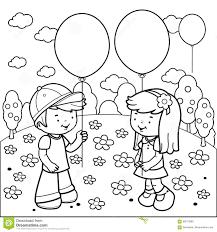 Bambini Al Parco Che Gioca Con I Palloni Pagina Del Libro Da