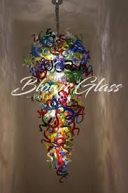 interior design for blown glass chandelier looking a custom or
