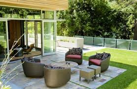 a patio and a deck