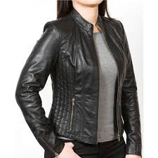 women s casual wear designer black leather jacket