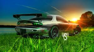 mazda rx7 crystal nature car