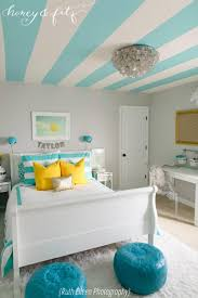 Bedroom design for girls blue Light Blue If You Want To Add Unique Element To Preteen Girls Bedroom Try Painting The Ceiling With Bright Blue And White Stripes Shutterfly 75 Delightful Girls Bedroom Ideas Shutterfly