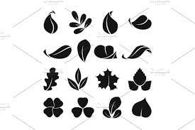 Black Monochrome Symbols Of Spring Leaf Vector Shapes Summer Icon Set Isolate On White Background