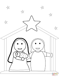 Christmas Nativity Scene Coloring Page Free