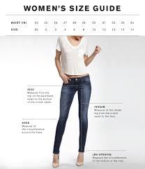 Womens Denim Size Guide Mavi Jeans