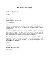 Letter Of References Examples Standard Reference Letter Template