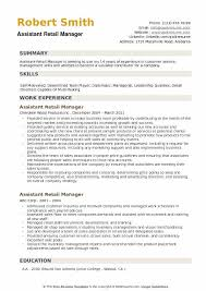 Sample Retail Resumes Assistant Retail Manager Resume Samples Qwikresume