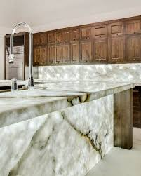 backlit miterfolded quartzite project modern kitchen