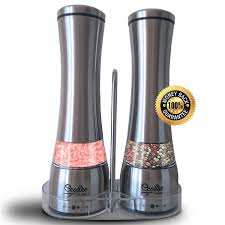 Amazon.com: ECOLINE HOME Salt and Pepper Grinders Mills Set 2 in 1-  Stainless Steel Manual Mills with Adjustable Ceramic Grinding Mechanism and  Convenient ...