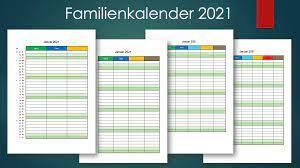 Jahreskalender 2021 mit feiertagen und kalenderwochen. Familienkalender 2021 Familienplaner Muster Vorlage Ch