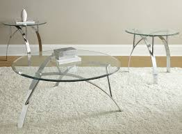 steve silver xavier piece glass top coffee table set w chrome