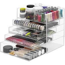 whitmor 5 tier acrylic cosmetic organizer and jewelry storage display case clear walmart
