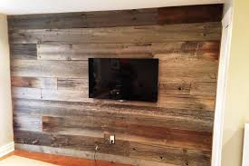 mixed grey and brown reclaimed barn board feature walls