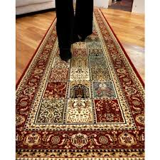 carpet runners set 3m rugs heritage panel red soft feel pile
