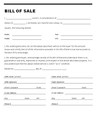 Personal Bill Of Sale For Car Used Auto Bill Of Sale Form Personal Car Private Template