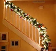Stairway Banister Decorated For Christmas Banister Christmas Christmas  Banister Garland