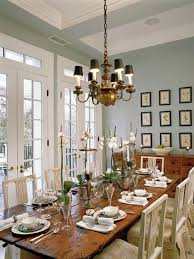 dining room chandelier brass. Soft Blue Wall Color For French Provincial Dining Room Interior Design With Rustic Wooden Table And Brass Chandelier