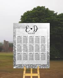 Wedding Table Plan Wedding Seating Chart Silver Wedding Sign Glitter Wedding Table Chart Wedding Dinner Printable Wedding Sign Wedding Print