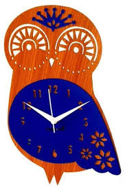 owl shaped blue wooden clock लकड