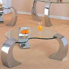 metal base and kidney glass top coffee table round with canada