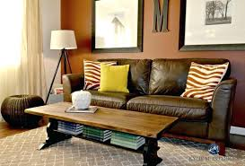 E Rust Colored Sofa Extraordinary Couch Painted Black And  Stained Trestle Style Coffee Table With