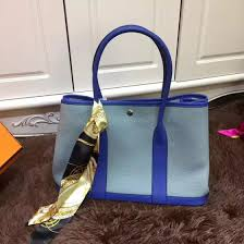 fashion baby blue sapphire blue hermes garden party medium leather tote bag silk ribbon
