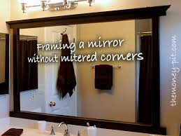 update bathroom mirror: framing a mirror without miter cuts