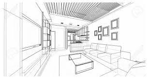 リビング エリアマンション計画のスケッチ デザインイラストのインテリア デザイン
