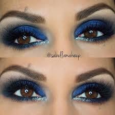 dark blue eyes blue eyeshadow makeup look for brown eyes