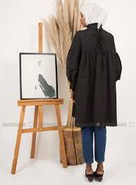 Easel Clothing Size Chart Black Crew Neck Cotton Tunic