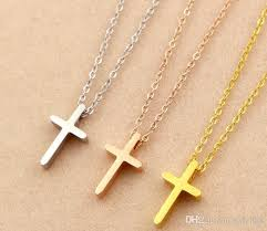 whole mini cross short necklace female titanium steel plated 18k rose gold clavicle chain european and american stainless steel necklace small pendant