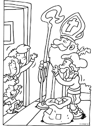 Kleurplaat Sint En Piet Bij De Voordeur Kleurplatennl
