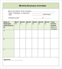 work time schedule template monthly work schedule template time recent employee template 1