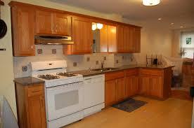 Resurface Kitchen Cabinets Small L Shape Kitchen Decoration Using Red Cherry Wood Refinish