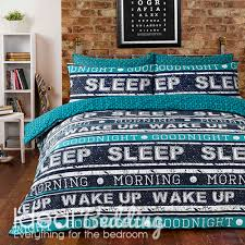 retro text teal duvet quilt bedding cover and pillowcase bedding set duvet sets complete bedding sets bed sheets pillowcase