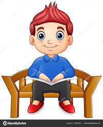 little boy sitting chair reading book stock vector