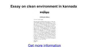 essay on clean environment in kannada google docs