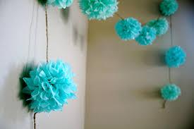 aqua love diy tissue paper pom garland nursery pomlove