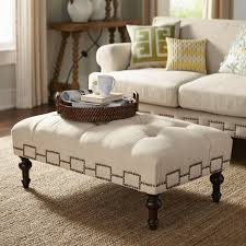 Nailhead Coffee Table Muted Floral Print Fabric Ottoman Coffee Table Tufted Top