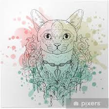 Plakát černá A Bílá Zvířecí Kočka Hlava Akvarel Abstraktní Umění Tetování Kresba Doodle